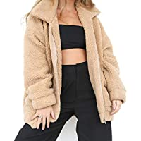 Ehoomely Women's Casual Fleece Fuzzy Faux Oversized Coat Zipper Warm Winter Outwear Shearling Jacket