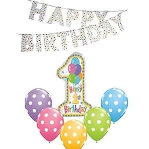 1歳のお誕生日パーティにぴったりなパーティグッズ パステルドットパーティーセット