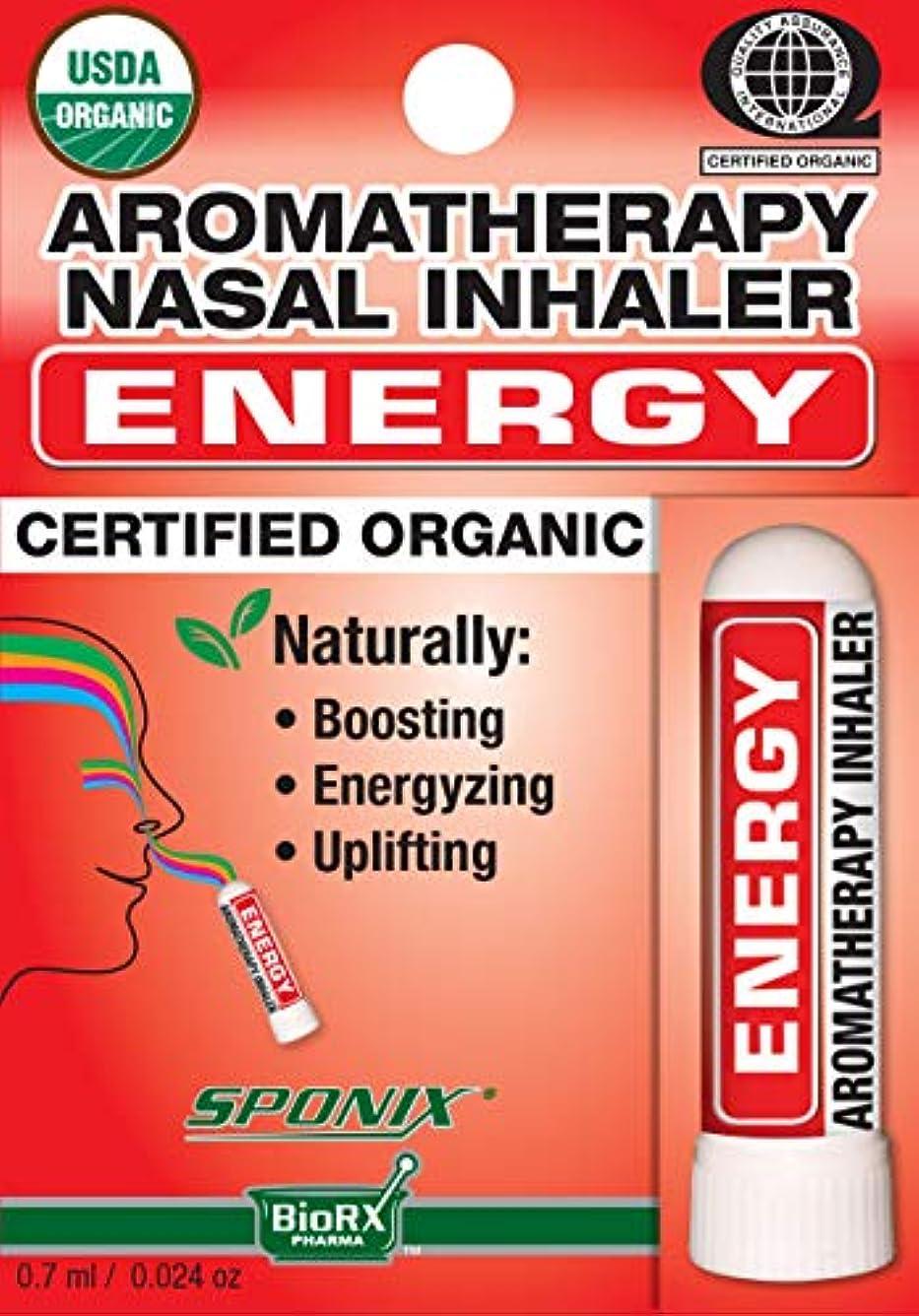 人口恒久的不幸Sponixアロマテラピー鼻用吸入器 - エネルギー - 0.7 mL - USDAオーガニック、100%純粋な天然精油から作られた
