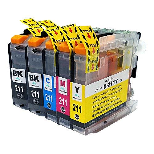 ブラザー 211 4色+BK=5本セット【LC211 BK×...