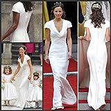 手頃な価格のビンテージ Pippa Middleton 花嫁介添人ドレスを安く簡単なデザイナー白い結婚式の 1 ピースのラインドレープネックウェディングドレス英国服