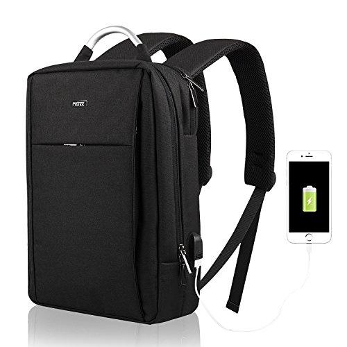 PRITEK PCバッグ ビジネスリュック USBポート搭載 15.6インチ PC収納 iPad収納 パソコンリュック メンズ レディース 通勤バッグ 大容量 防水 軽量 通学 旅行(ブラック)