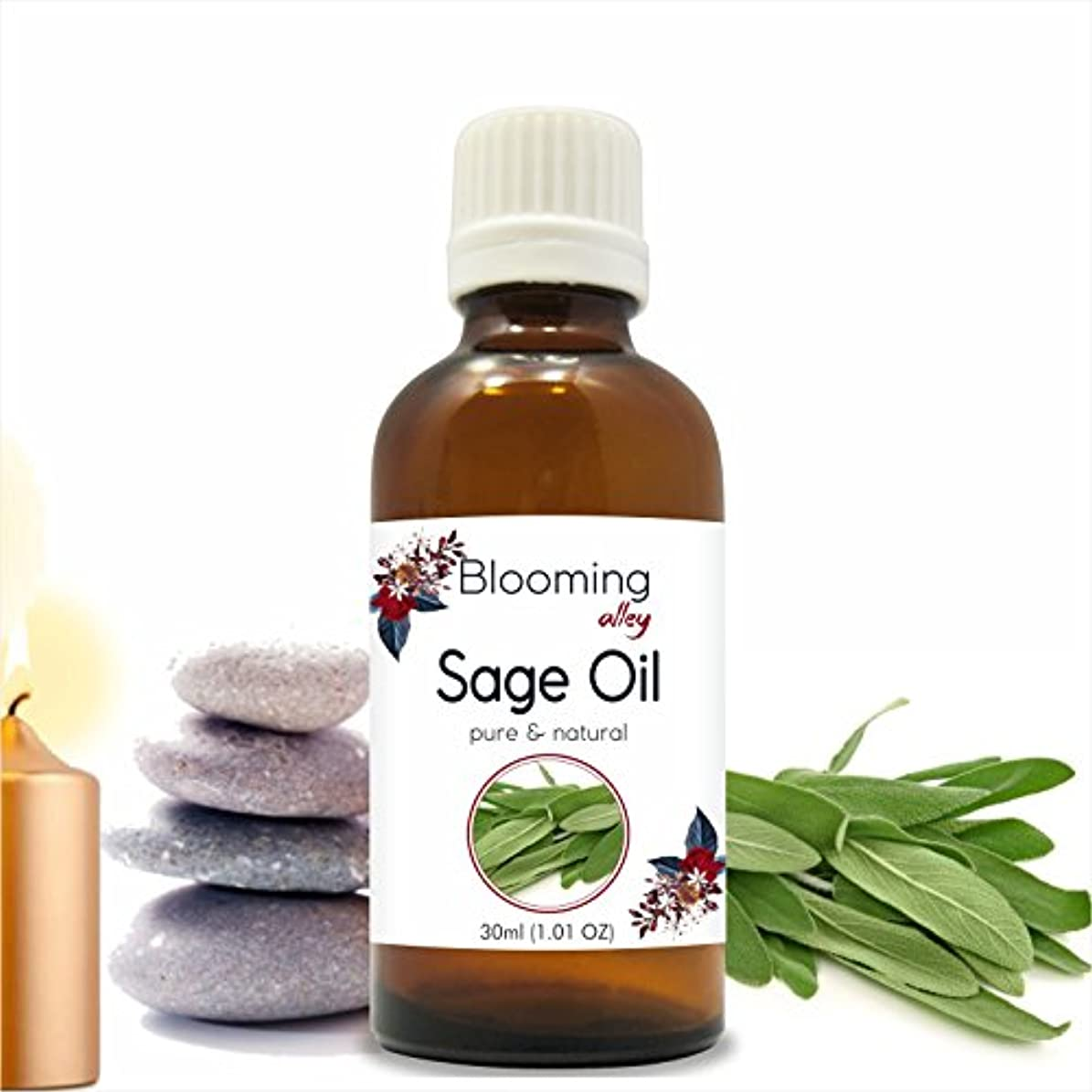 溶岩怪しいまもなくSage Oil(Salvia Officinalis) Essential Oil 30 ml or 1.0 Fl Oz by Blooming Alley