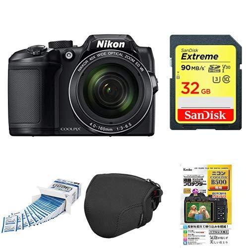 Nikon デジタルカメラ COOLPIX B500 光学40倍ズーム 1602万画素 単三電池 ブラック B500BK + アクセサリー4点セット(SDカード 32GB、液晶保護フィルム、カメラケース、クリーニングティッシュ)