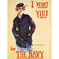 Christy WWI War US Navy Enlist Recruit Women Advert Art Print Canvas Premium Wall Decor Poster Mural キリスト戦争海軍参加者リクルート女性たち広告壁デコポスター