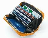牛革 クレジットカードケース 大容量 カードホルダー じゃばら 本革 カード 入れ (オレンジ)