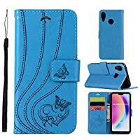 MGVV Huawei P20 Lite Wallet Case, [Butterfly Embossing] Folio Folding Wallet Case Flip Cover Protective Case with Card Slots and Kickstand for Huawei P20 Lite - Blue