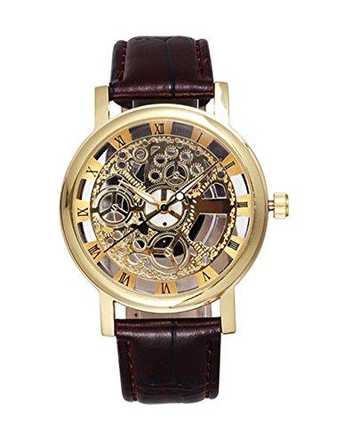 メンズ 機械式 ホロウ スケルトン アナログ 腕時計 ブラウンレザーバンド-ゴールド
