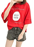 BeiBang(バイバン) レディース 半袖 tシャツ ゆったり ダメージ ファッション かわいい トップス カットソー ストリート プルオーバー(24レッド)