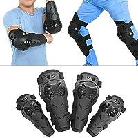 Knee Shin Guards、4個セットABSシェル大人用柔軟性と通気性膝肘Armorオートバイモトクロスサイクリング肘と膝プロテクターパッドブラック
