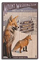 (10 x 15 Wood Sign) - Mt. Washington, New Hampshire - Fox Scene (10x15 Wood Wall Sign, Wall Decor Ready to Hang)