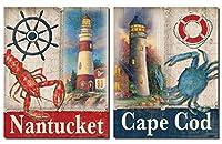 航海ナンタケット島ロブスターとケープcod Crab Sign Mounted Prints