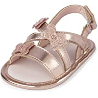 The Children's Place Girls' Nbg Btrfly Sanda Flat Sandal Rose Gold 6-12MOS Medium US Big Kid