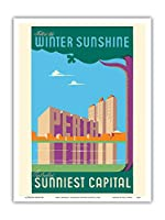 パース、オーストラリア - 冬の日差しに従ってください - オーストラリアの一番明るい首都 - ビンテージな世界旅行のポスター c.1950 - アートポスター - 23cm x 31cm