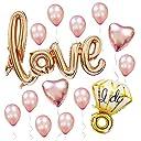 Sharlity Rose Gold Love Balloon Set - Engagement Diamond Ring Balloon Romantic Wedding Bridal Anniversary Party Decoration 【You Me】 並行輸入品