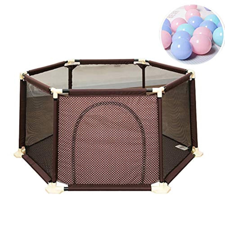 BSNOWF-ベビーサークル 子供の屋内のポータブル遊びペン大きな安全フェンス (色 : Brown)