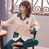 秋と冬の綿のパジャマ女性の長袖の新しいホームサービススーツカジュアルカーディガンパジャマ女性春身に着けている,カーディガン1951,L・