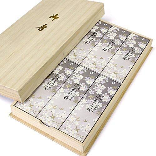 日本香堂 宇野千代のお線香 淡墨の桜 桐箱入 60g×6(贈答用 包装品)