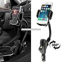 車のバックミラーホルダー、ホルダー幅:35-80mm、クランプ幅:60-95mm iPhone、ギャラクシー、Huawei、Xiaomi、LG、HTCおよび他のスマートフォン(ブラック)