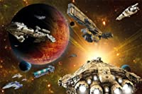 Poster Galaxy Adventure 窶・wall picture decoration space shuttle science fiction spaceship universe star | Wallposter Photoposter wall mural wall decor by GREAT ART (55 x 39.4 Inch / 140 x 100 cm) [並行輸入品]
