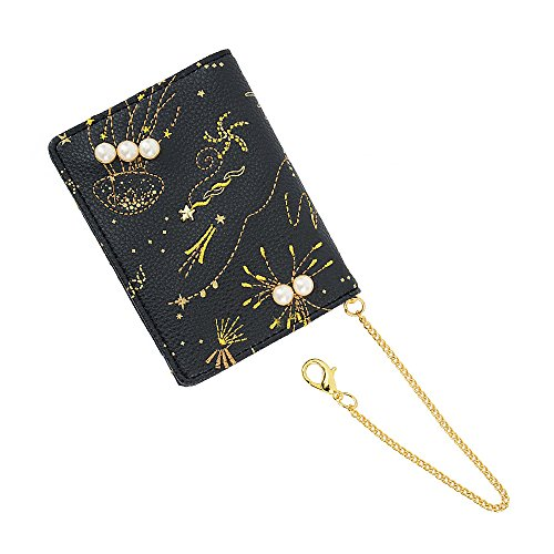 ブラック F (ディーループ)D-LOOP パール & ビジュー クラゲ刺繍 パスケース カードケース 大容量 PUレザー...