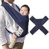 バンビノ 抱っこひも シンプル 軽量 コンパクト お出かけ 持ち運び 脱着 簡単 ベビー 2個目の抱っこ紐に 赤ちゃん 安全 綿100% (ネイビー)