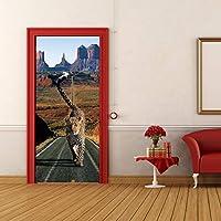 swsongx 3Dドアウォールステッカーヒョウの道ウォールドアステッカーDiyドアポスターベッドルーム家の装飾Pvc防水ドアWallpaper77x200cm