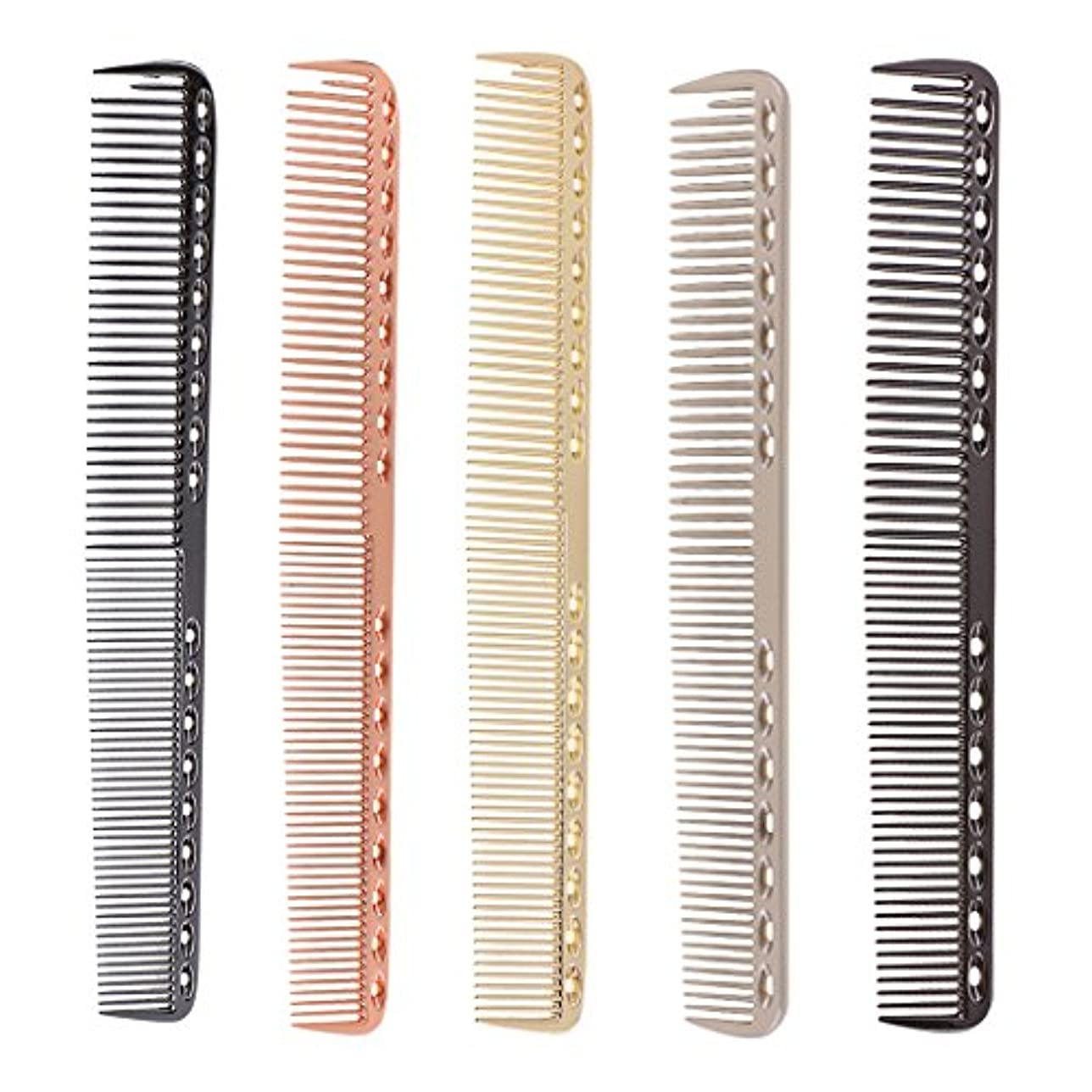 組み込む学者シーケンスToygogo 5ピース/個帯電防止アルミロング理髪理髪ヘアカットくし