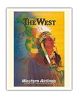 西 - アメリカンインディアンチーフ - ウェスタン航空 - ビンテージな航空会社のポスター によって作成された E・カール・レイク c.1950s - アートポスター - 41cm x 51cm