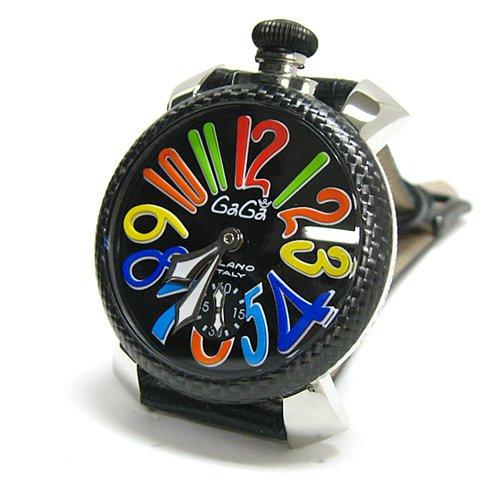 腕時計 48MM MANUALE マヌアーレ CARBON STEEL 5015 ブラック/マルチ ガガミラノ