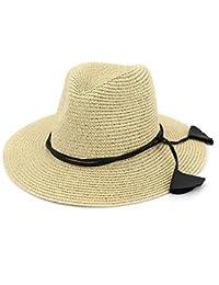 XZP 夏の麦わら帽子、太陽の帽子女性のためのペンダントの装飾と大ぎりぎりのストローパナマフェドラハットフロッピー帽子