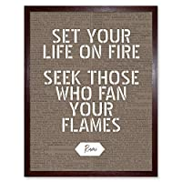 Dictionary Quote Rumi Life Fire Flames Art Print Framed Poster Wall Decor 12x16 inch 見積もり 生活 火 ポスター 壁 デコ
