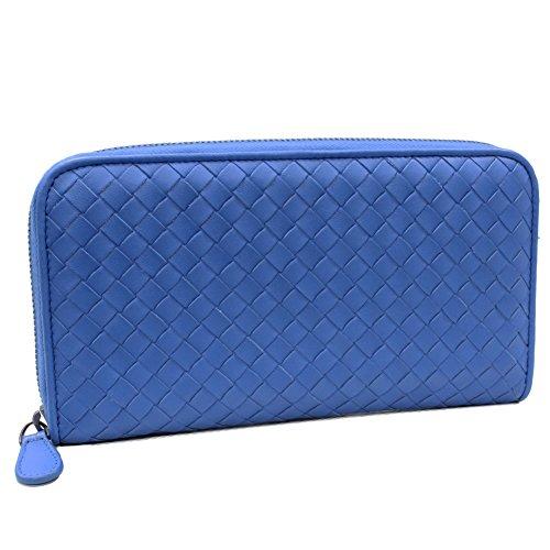 (ボッテガヴェネタ) Bottega Veneta ラウンドファスナー長財布 イントレチャート ドキュメントケース ラムレザー ブルー 302357