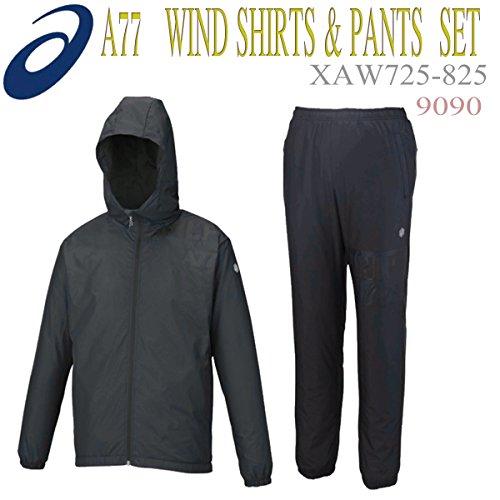 [アシックス] A77 ウインドフーディー & ウインドパンツ 上下セット ブラック XAW725 9090/XAW825 90B S