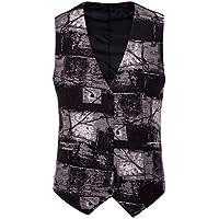 MogogN Men's Fashion Button-up Colorblock Asymmetrical Geometric Suit Dress Vest