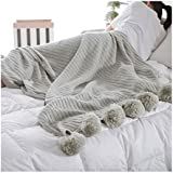 ZOZOE Soft Cotton Blanket Adorable Hair Ball Blanket Home Bedroom Knitted Blankets Sofa Couch or Bedroom Décor Lightweight Breathable Warmth Seasons
