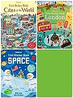 Usborne First Sticker Book ステッカーブック 英語 シールブック 3冊セット (世界都市-ロンドン-宇宙) [並行輸入品]