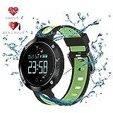 防水スマートウォッチ Evershop スマートブレスレット フィットネスリストバンド 心拍計 活動量計 血圧測定 健康統計 睡眠検測 モーション検知 着信通知 プッシュメッセージ タッチ操作 腕時計  Iphone/Android 4.4/ Bluetooth 4.0 /ios8.0 以上 24時間自動測定 (Green)