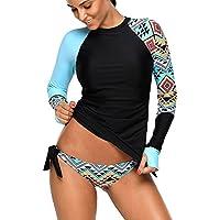 VINICOVA Womens Long Sleeve Rashguard Shirt Color Block Print Tankini Swimsuit