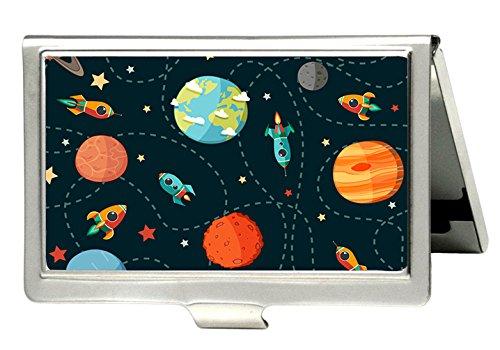 tumeimei Planets Rocketsと星デザインビジネスカードホルダーPersonlizedステンレススチールProfessionalビジネスカードホルダー