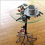 丸テーブル ガラステーブル おしゃれ アンティーク アイアンとガラスのテーブル グレープ [kwt5407]