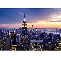 Ljjlm 写真壁紙美しいニューヨーク市夜の風景3D壁画リビングルームのテーマホテルファッション装飾壁紙-120X100CM