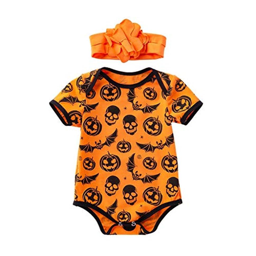 ポゴスティックジャンプ選択維持するMISFIY 幼児 ベビー服 子供 女の子 セット ロンパース ヘアバンド コットン ハロウィン かぼちゃ 可愛い 寝間着 部屋着