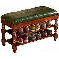 (暗緑色の靴のベンチ) - ソリッドウッドストレージシューズラック、フリップフロップスポーツシューズ子供靴ストレージシェルフ、シート表面を開くことができます (サイズ さいず : 80*35*48CM)