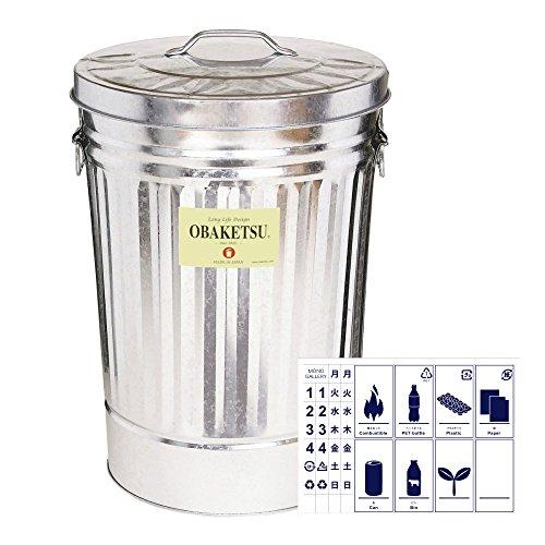 OBAKETSU 42L + 分別ステッカー 【2点セット】 ゴミ箱 ごみ箱 ダストボックス おしゃれ ふた付き オバケツ 渡辺金属工業 M45 (42L シルバー)