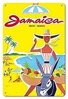 22cm x 30cmヴィンテージハワイアンティンサイン - ジャマイカ - 西インド諸島 - カリブ海 - ジャマイカのビーチ・フルーツのロバによる移動販売 - ビンテージな世界旅行のポスター c.1950s