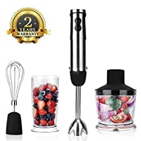 KOIOS Multi-Use 800W 4-in-1 Immersion Hand Blender/Mixer, 12-Speed, Ergonomic Comfortable Grip with 2-Cup BPA Free Food Processor, Whisk, 304 Stainless Steel, ETL Safety Certified 141[並行輸入]