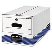 バンカーズボックスストア/ファイルストレージボックス、法的、文字列、ボタン、ホワイト/ブルー、4/カートン