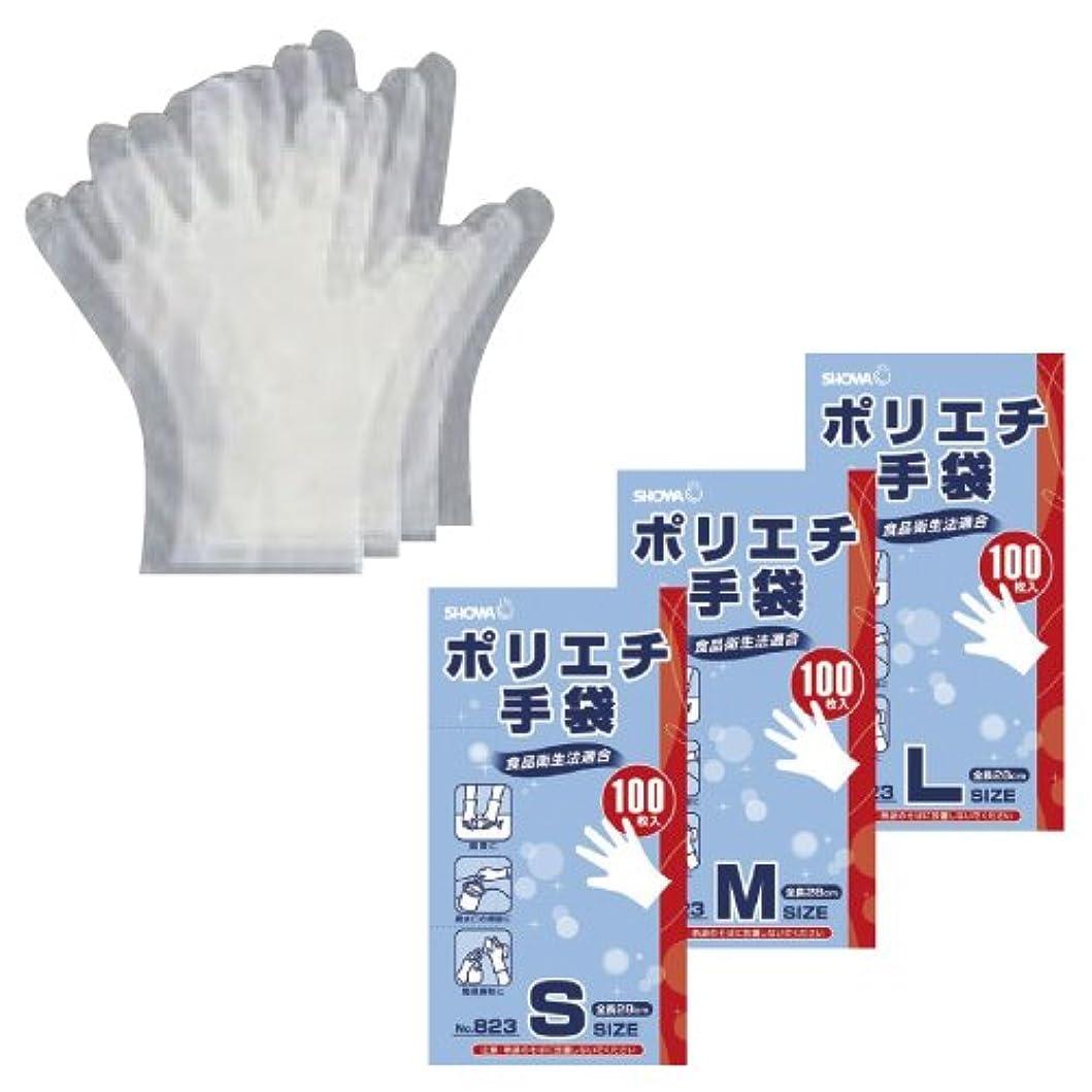 チョーク行商刺繍ポリエチ手袋(半透明) NO.823(M)100????????????(23-7247-01)