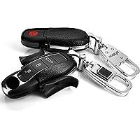 本革Layer inハードプラスチックキーレスリモートエントリFobケースカバー用ポルシェMacan Panamera Cayenne Boxsterケイマン911 ブラック Saibon_Leather Porsche KeyLess (Black)